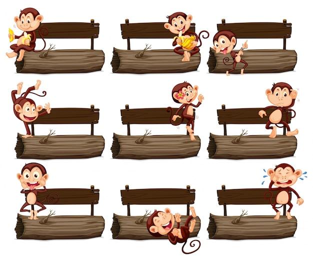Segno di legno e molte scimmie su log illustrazione