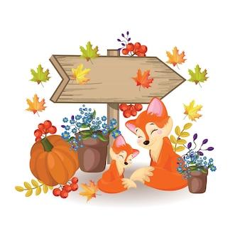 Segno di legno una volpe sveglia, zucca e fiori cadono stagioni