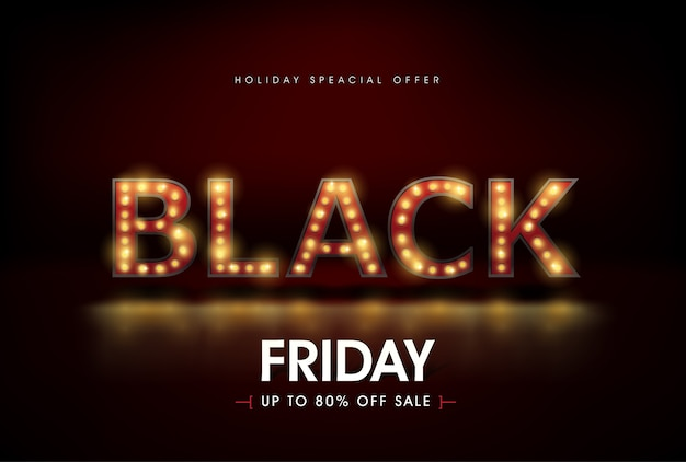 Segno di luce retrò modello di progettazione banner vendita venerdì nero.