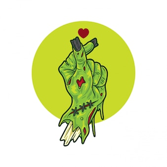 Segno di mani amore zombie