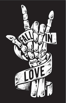 Segno di mano scheletro con illustrazione del nastro di amore