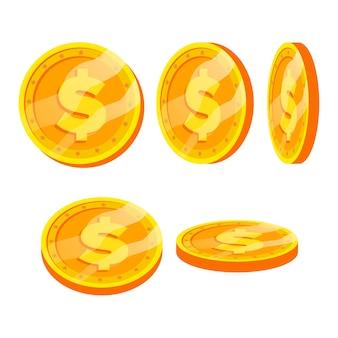 Segno di monete d'oro del dollaro