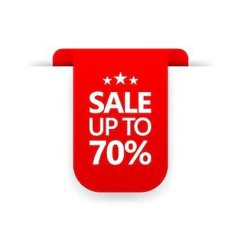 Segno di offerta speciale cartellino del prezzo in vendita fino al 70% di sconto promozione icona della linea di tag dello shopping