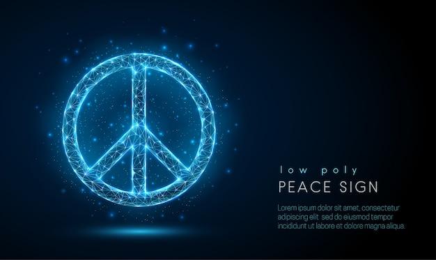 Segno di pace astratto design in stile poli basso
