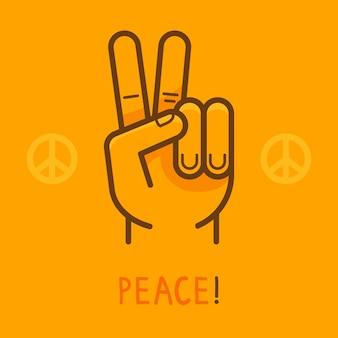 Segno di pace di vettore - mano che mostra due dita