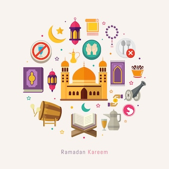 Segno di ramadan kareem e attività simbolo per i musulmani