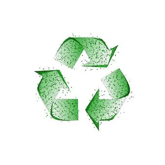 Segno di riciclo verde fatto di linee