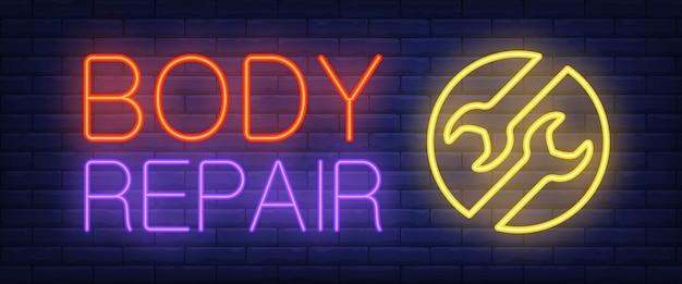 Segno di riparazione del corpo in stile neon