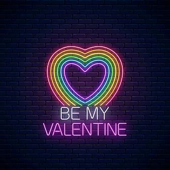 Segno di san valentino con lgbt colori a forma di cuore in stile neon.