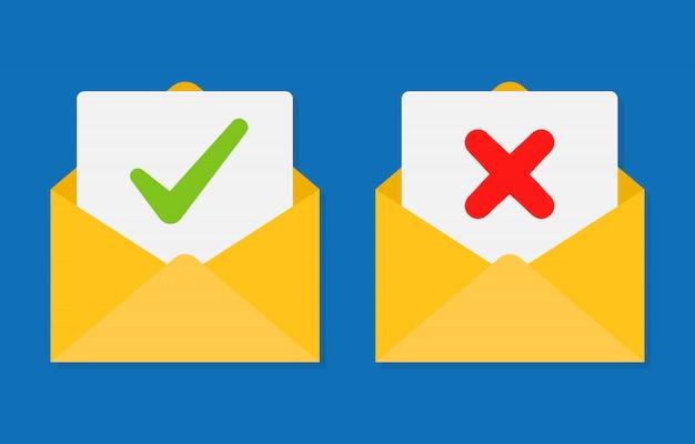 Segno di spunta nella busta della posta. e-mail di conferma e rifiuto