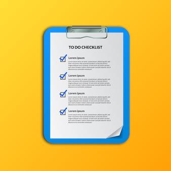 Segno di spunta per fare l'elenco dei documenti per la preparazione o la pianificazione, la pianificazione o l'organizzazione del piano aziendale o delle attività