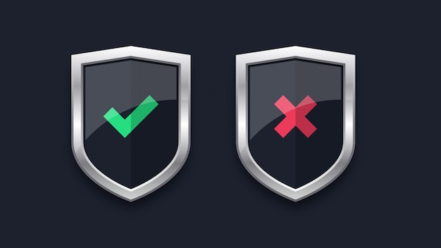 Segno di spunta verde e croce rossa sui badge