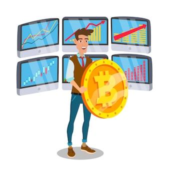 Segno di standing with big bitcoin dell'uomo d'affari