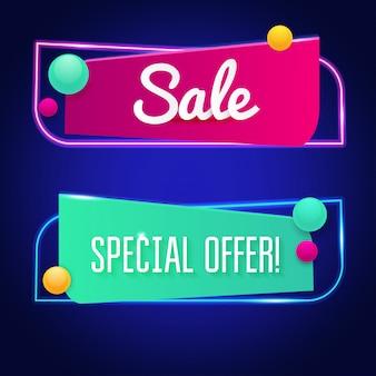 Segno di vendita al neon luminoso. sfondo per la tua pubblicità, sconti e affari.