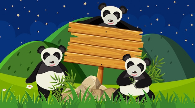 Segno e panda di legno nel parco