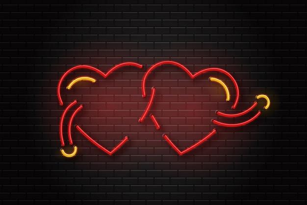 Segno erotico al neon realistico di cuori per la decorazione e il rivestimento sullo sfondo della parete.