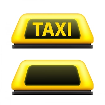 Segno giallo del tetto dell'automobile di servizio di taxi sulla via.