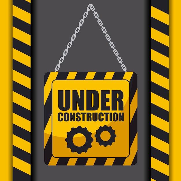 Segno in costruzione appeso