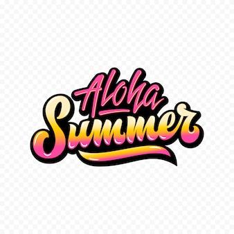 Segno o manifesto dell'iscrizione della mano dell'estratto di aloha summer. gradiente giallo rosa.