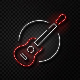 Segno retrò al neon realistico isolato della chitarra sullo sfondo trasparente per la decorazione e la copertura. concetto di negozio di musica, dj, pub musicale e concerto rock.