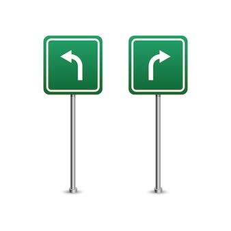 Segno verde della strada principale con il bordo delle frecce. isolato su sfondo bianco