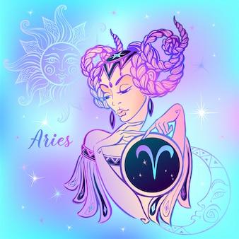 Segno zodiacale ariete una bella ragazza