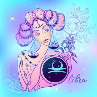 Segno zodiacale bilancia una bella ragazza.
