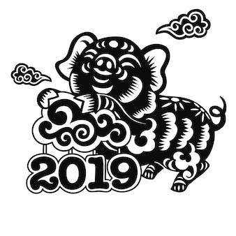 Segno zodiacale cinese anno del maiale, maiale tagliato con carta