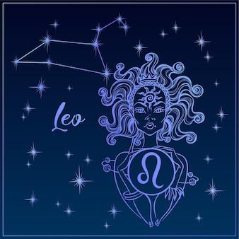 Segno zodiacale leone una bella ragazza. la costellazione del leone.