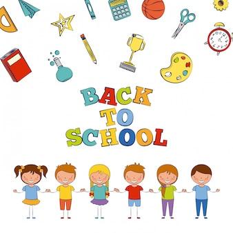 Sei bambini tornano a scuola con l'illustrazione degli elementi della scuola