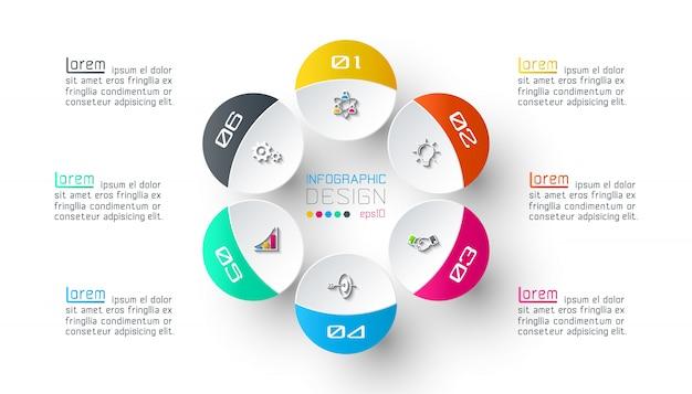 Sei cerchi con infografica icona aziendale.