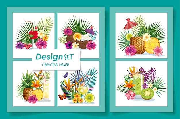 Sei di frutti con fiori e foglie tropicali
