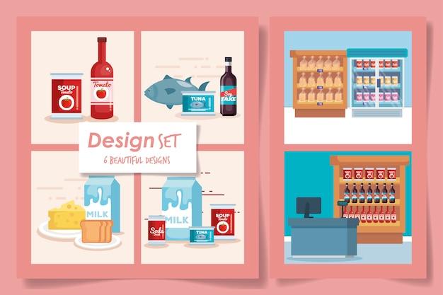 Sei disegni set di prodotti supermercato