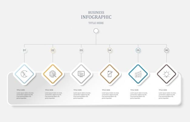 Sei elementi e icone per il concetto di business.