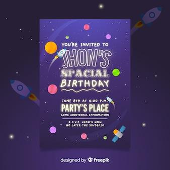 Sei invitato a un modello di poster di compleanno spaziale