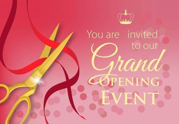 Sei invitato al nostro evento di inaugurazione in caratteri gialli