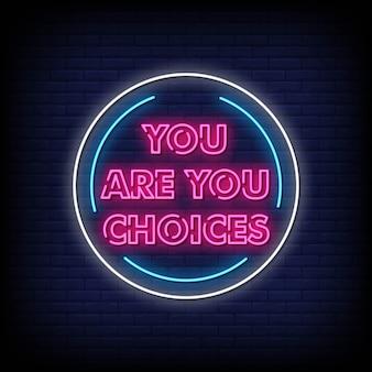 Sei la scelta del testo in stile insegne al neon