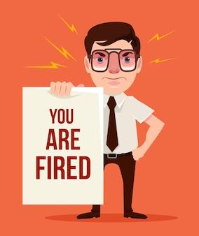 Sei licenziato. capo arrabbiato. cartone animato piatto