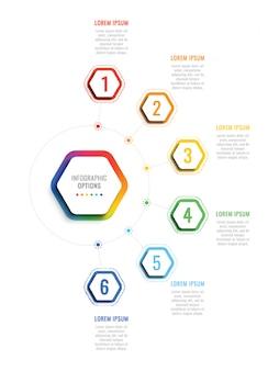Sei passaggi modello di infografica 3d con elementi esagonali.