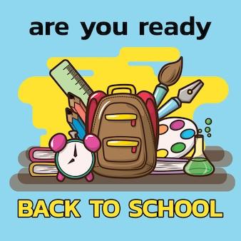 Sei pronto per tornare a scuola., materiale scolastico su blackground blu.