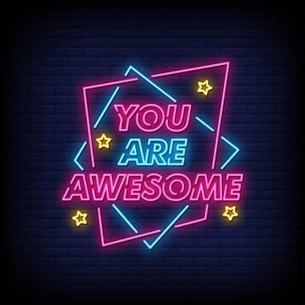 Sei un fantastico testo in stile insegne al neon