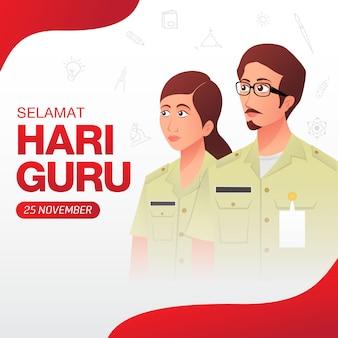 Selamat hari guru. traduzione: happy teacher's day. illustrazione del giorno dell'insegnante di festa indonesiana. adatto per biglietto di auguri, poster e banner