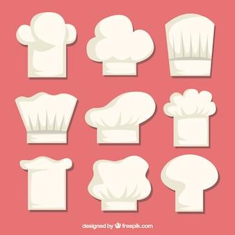 Selezione di cappelli da cuoco in design piatto