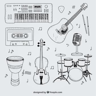 Selezione di disegnati a mano elementi per uno studio musicale