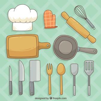 Selezione di elementi da cucina disegnati a mano