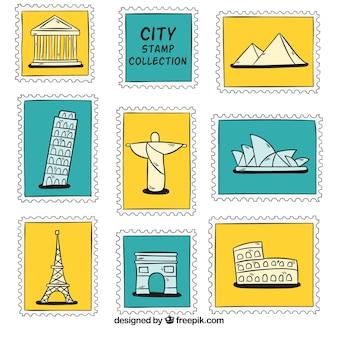 Selezione di francobolli di città disegnati a mano
