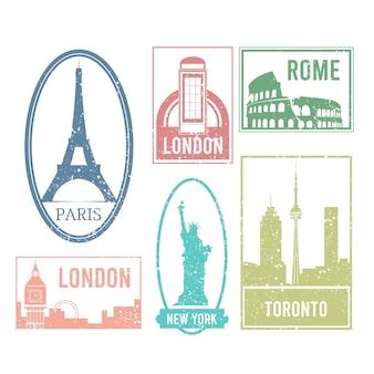 Selezione di francobolli di città in stile retrò