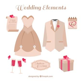 Selezione di oggetti di nozze decorativi con dettagli di colore