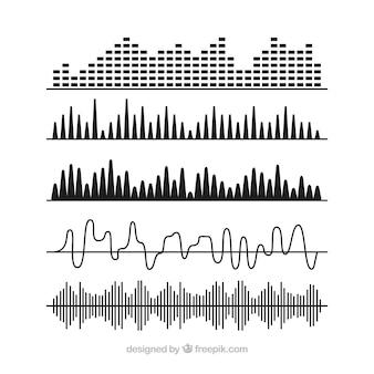 Selezione di onde sonore nere con disegni diversi