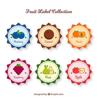 Selezione di sei etichette di frutta rotonde
